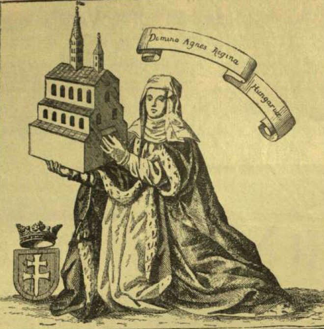 DKA-039321 Picture of Agnes, Queen of Hungary in the Fugger Chronicle. Vasárnapi Ujság. Engraving, newspaper detail